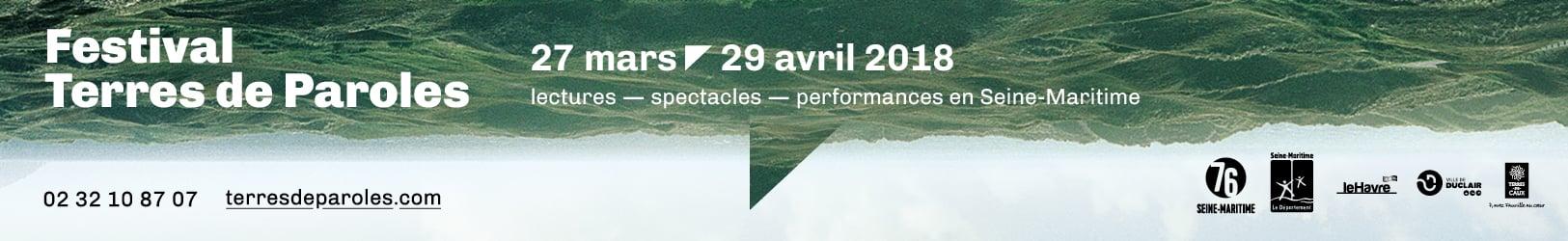 Festival Terres de Paroles du 27 mars au 29 avril 2018